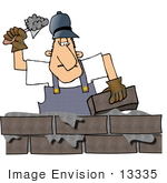 #13335 Middle Aged Caucasian Brick Mason Man Laying Bricks Clipart