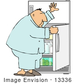 #13336 Middle Aged Man Holding Open A Fridge Door Looking For A Snack Clipart