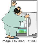 #13337 Man Holding Open a Fridge Door, Looking For a Snack Clipart by DJArt