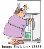#13338 Middle Aged Woan Holding Open A Fridge Door Looking For A Snack Clipart
