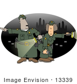 #13339 African American and Caucasian Border Patrol Workers at Night Clipart by DJArt