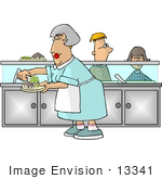 #13341 Lunch Server Woman In A Scool Cafeteria Clipart