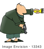 #13343 Middle Aged Man In Robe Holding A Gun And Flashlight Clipart