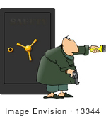 #13344 Man Standing In Front Of A Safe With A Flashlight And Gun Clipart