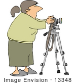 #13348 Caucasian Woman Setting The Timer On Her Camera Clipart