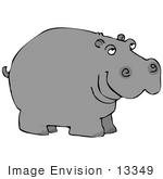 #13349 Hippo Facing Right Clipart