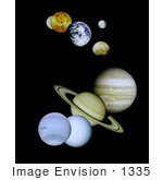 #1335 Stock Photo of the Solar System Planets Against the Blackness of Space by JVPD