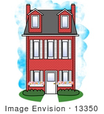 #13350 Three Story House Clipart