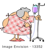 #13352 Senior Woman In Hospital Gown Using Cane And Iv Clipart