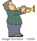 #13354 Caucasian Boy Playing A Trumpet Clipart