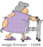 #13356 Elderly Woman In Hospital Gown Using A Walker Clipart