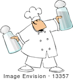 #13357 Caucasian Chef Man Holding Giant Salt And Pepper Shakers Clipart