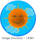 #13361 Smiling Sun In A Summer Sky Clipart