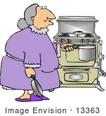 #13363 Old Woman Cooking With An Antique Stove Clipart
