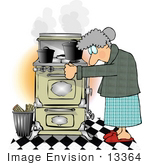 #13364 Old Caucasian Woman Using A Very Old Wood Kitchen Stove Clipart