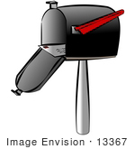 #13367 Mail In An Open Mailbox Clipart