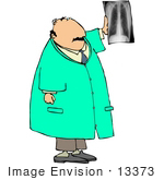 #13373 Caucasian Male Doctor With An Xray Clipart