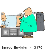 #13379 Middle Aged Caucasian Man In An Exam Room Getting A Prostate Exam Clipart