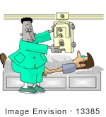 #13385 African American Doctor Xraying A Caucasian Patient With A Machine Clipart