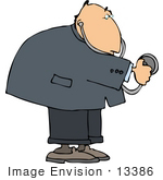 #13386 Middle Aged Caucasian Doctor Man Using A Stethoscope Clipart