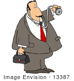 #13387 Middle Aged Caucasian Doctor Making A House Call Clipart