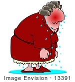 #13391 Sweaty Woman With Hot Flashes Clipart by DJArt