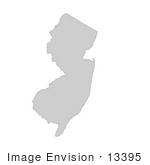 #13395 Picture Of A Map Of New Jersey Of The United States Of America