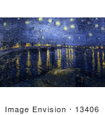#13406 Picture Of The Starry Night Over The Rhone Painting By Van Gogh