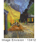 #13412 Picture of Cafe Terrace at Night Painting by Vincent Van Gogh by JVPD