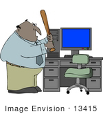 #13415 Angry Man About To Beat His Computer With A Baseball Bat Clipart
