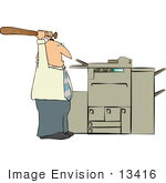 #13416 Man Beating A Printer With A Baseball Bat Clipart