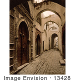#13428 Picture Of A Cobbled Alley Tresure Street Tunis Tunisia
