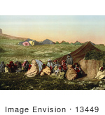 #13449 Picture Of A Group Of Arabian Wanderers Near Their Tent In Tunis Tunisia