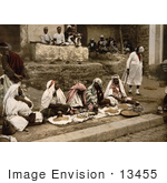 #13455 Picture Of Couscous Vendors Sitting Cross Legged At An Arabian Cafe Tunis
