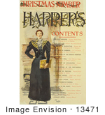 #13471 Picture Of A Woman On The Contents Page Of The Harper'S Christmas Number In 1893