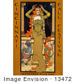 #13472 Picture Of A Woman On A Poster For The Cincinnati Fall Festival Of 1903