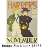 #13473 Picture Of A Couple Walking On The Harper'S November Of 1894 Issue