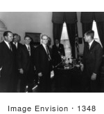 #1348 Stock Photo of John F Kennedy Receiving a Mariner 2 Model, 1961 by JVPD