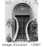 #13491 Picture Of Ivory Tusks In A Doorway