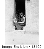 #13495 Picture of a Hopi Native American Woman Weaving a Basket by JVPD