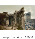 #13568 Picture Of The Temple Of Jupiter And Temple Of Bacchus Baalbek Lebanon