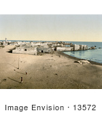 #13572 Picture Of The City Of Tyre Lebanon With People On The Beach