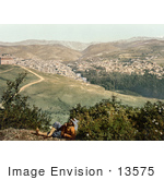 #13575 Picture Of A Man On A Viewpoint Overlooking Zahleh Lebanon