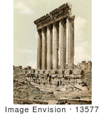 #13577 Picture Of The Temple Of Jupiter Columns Baalbek Lebanon