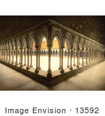 #13592 Picture Of Monks Promenade With Arcade And Pillars Mont Saint-Michel France