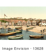 #13628 Picture Of The East Beach Of Helgoland With Boats And Buildings Germany