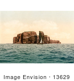 #13629 Picture Of A Sailboat By The North Point And Hengst Heligoland Germany