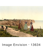 #13634 Picture Of Three Women By A Cliff With A Goat Heligoland Germany
