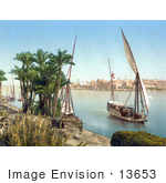 #13653 Picture Of A Sailing Boat On The Nile Cairo Egypt