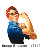 #13715 Picture of Rosie The Riveter Flexing Her Arm Muscles, We Can Do It! by JVPD